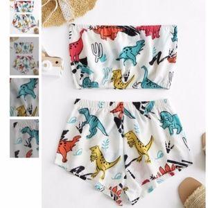 NEW! Cute Dinosaur Print Bandeau Top & Shorts Set!